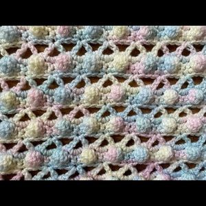 Handmade Nubbly Pink Blue and Yellow Baby Blanket